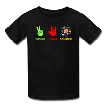 Load image into Gallery viewer, Peace Love Science Kids' T-Shirt - black
