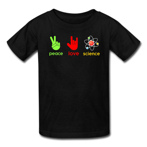 Peace Love Science Kids' T-Shirt - black