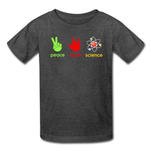 Load image into Gallery viewer, Peace Love Science Kids' T-Shirt - heather black