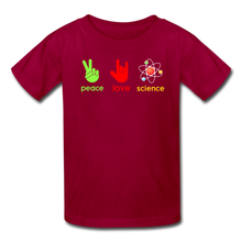 Load image into Gallery viewer, Peace Love Science Kids' T-Shirt - dark red