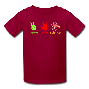 Peace Love Science Kids' T-Shirt - dark red