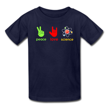 Load image into Gallery viewer, Peace Love Science Kids' T-Shirt - navy