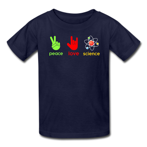 Peace Love Science Kids' T-Shirt - navy