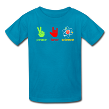 Load image into Gallery viewer, Peace Love Science Kids' T-Shirt - turquoise