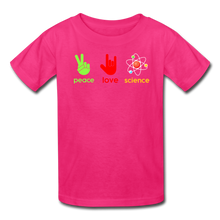 Load image into Gallery viewer, Peace Love Science Kids' T-Shirt - fuchsia