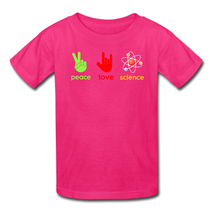 Peace Love Science Kids' T-Shirt - fuchsia