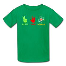 Load image into Gallery viewer, Peace Love Science Kids' T-Shirt - kelly green