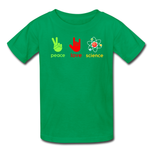 Peace Love Science Kids' T-Shirt - kelly green