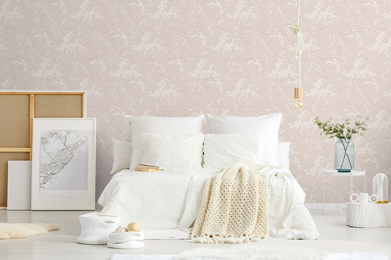 Pink Japanese Wave bedroom wallpaper