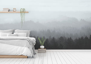 Blue Vintage Forest bedroom wall mural