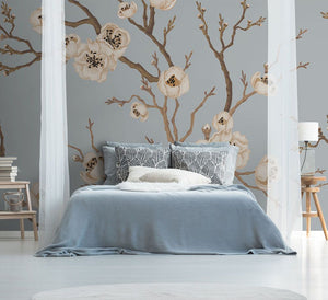 Duck Egg Japanese Floral bedroom wall mural
