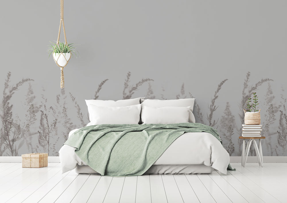 Grey meadow bedroom wallpaper