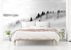 Monochrome Misty Forest bedroom wall mural