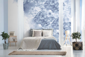 Vintage blue floral bedroom wall mural
