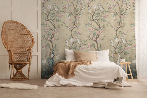 Beautiful cream Chinoiserie bedroom wallpaper