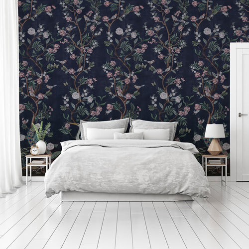 Beautiful dark blue Chinoiserie bedroom wallpaper