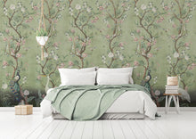 Load image into Gallery viewer, Beautiful green Chinoiserie bedroom wallpaper