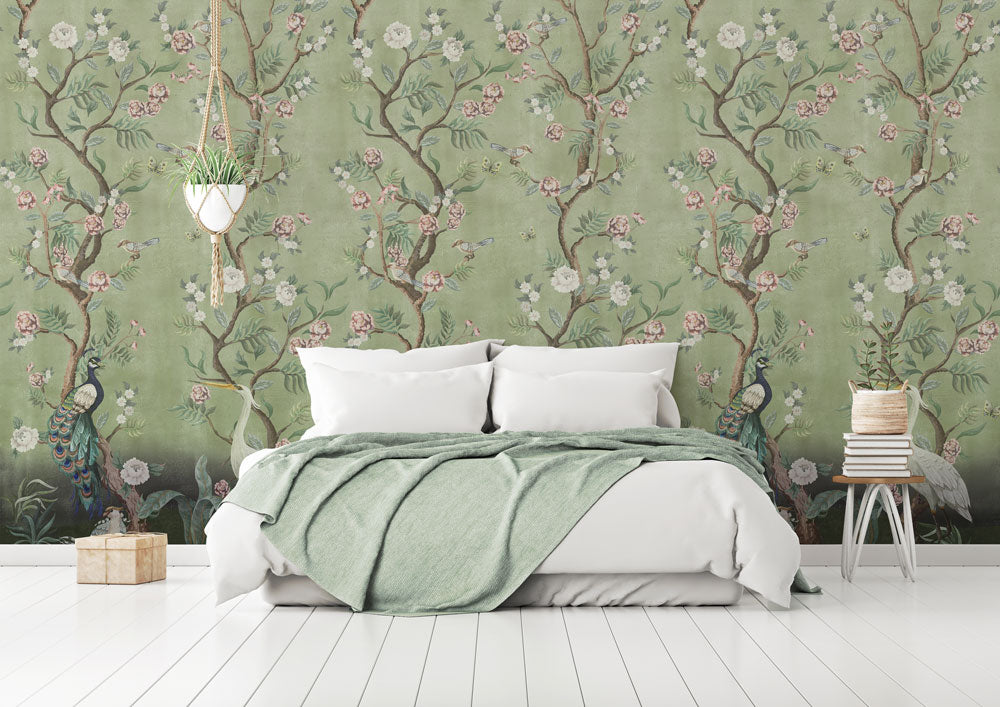 Beautiful green Chinoiserie bedroom wallpaper
