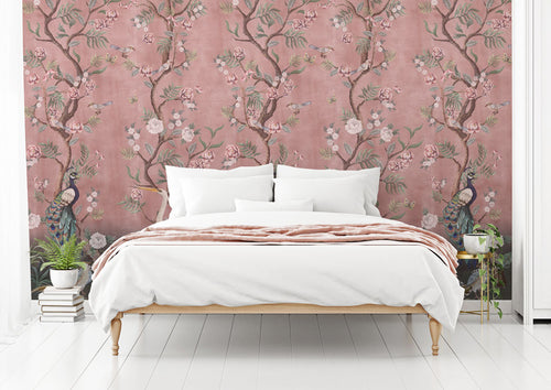 Beautiful pink Chinoiserie bedroom wallpaper
