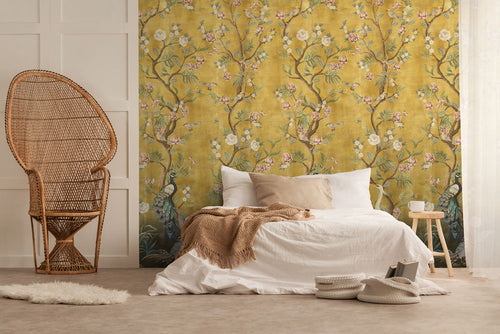 Beautiful yellow Chinoiserie bedroom wallpaper