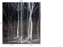 Load image into Gallery viewer, Black Watercolour Forest bedroom wall mural