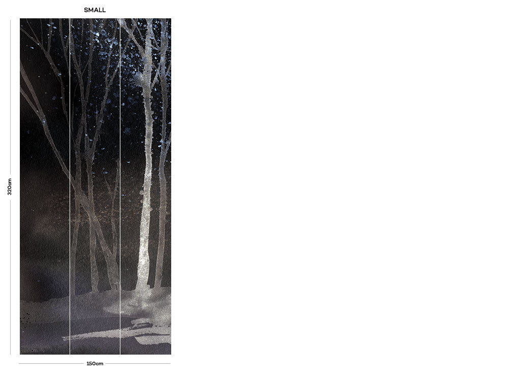 Black Watercolour Forest bedroom wall mural
