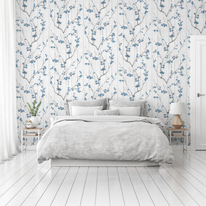Blue cherry blossom bedroom wallpaper