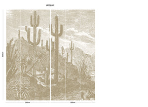 Brown vintage cactus bedroom wall mural