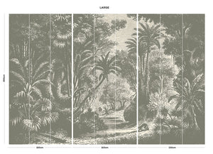 Brown vintage jungle bedroom wall mural