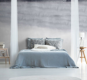 Grey abstract ombre bedroom wall mural
