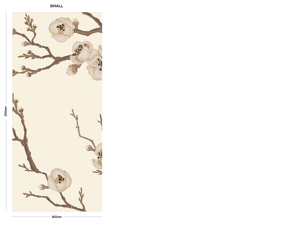Cream Japanese Floral bedroom wall mural