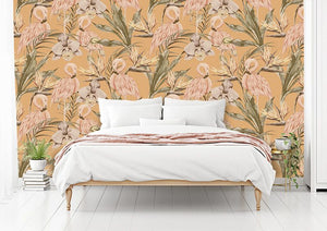 Orange Tropical Flamingo bedroom wallpaper