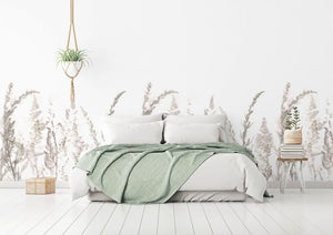 White meadow bedroom wallpaper