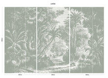Load image into Gallery viewer, Grey vintage jungle bedroom wall mural