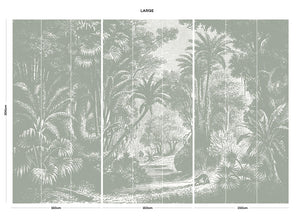 Grey vintage jungle bedroom wall mural