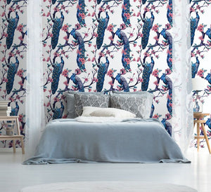 White Jungle Bird  bedroom wallpaper