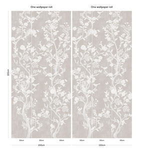 Romantic grey Chinoiserie bedroom wallpaper
