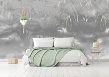 Load image into Gallery viewer, Grey abstract floral bedroom wall mural