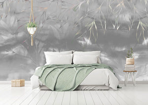 Grey abstract floral bedroom wall mural