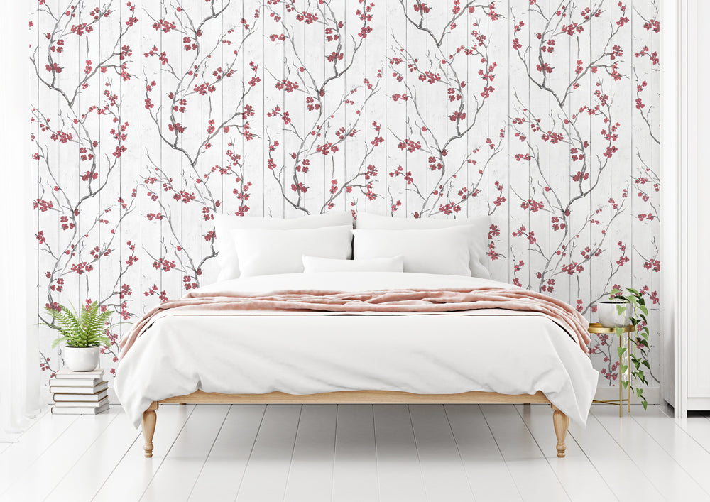 Red cherry blossom bedroom wallpaper