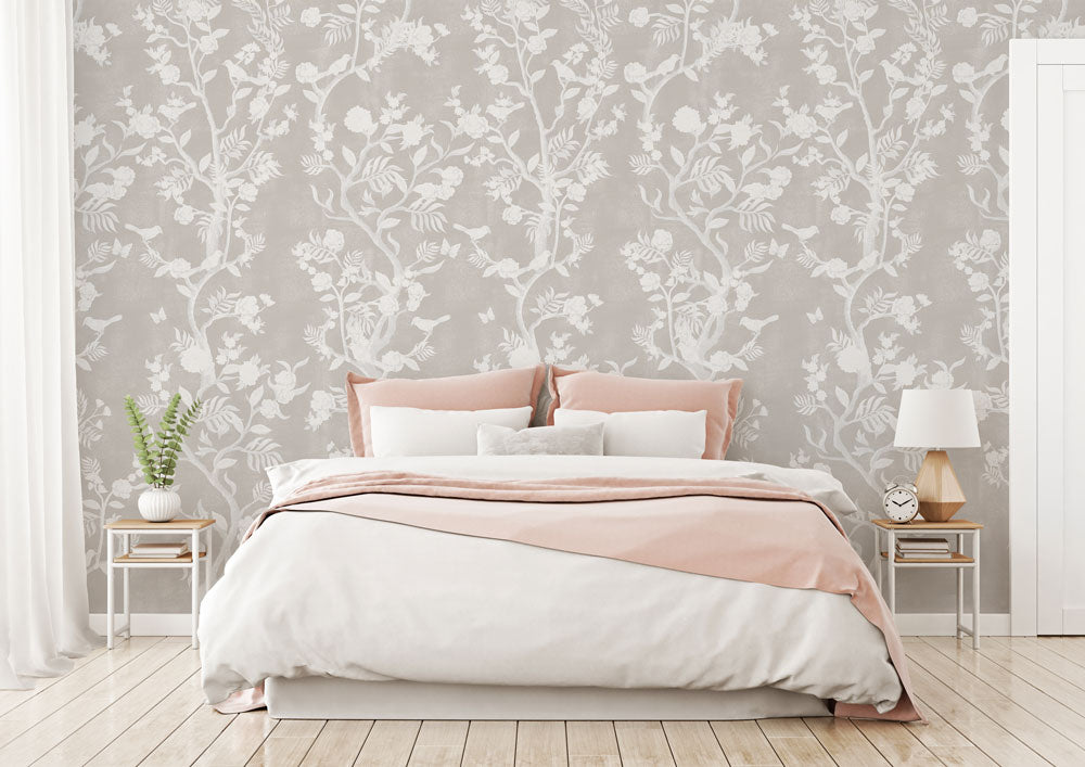 Romantic cream Chinoiserie bedroom wallpaper