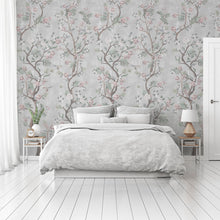 Load image into Gallery viewer, Beautiful grey Chinoiserie bedroom wallpaper