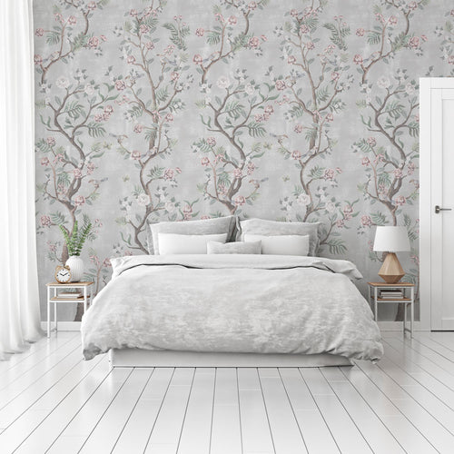 Beautiful grey Chinoiserie bedroom wallpaper