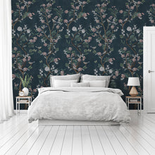 Load image into Gallery viewer, Romantic teal Chinoiserie bedroom wallpaper