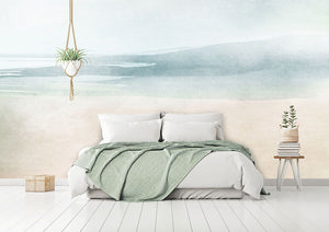Abstract beach bedroom wall mural