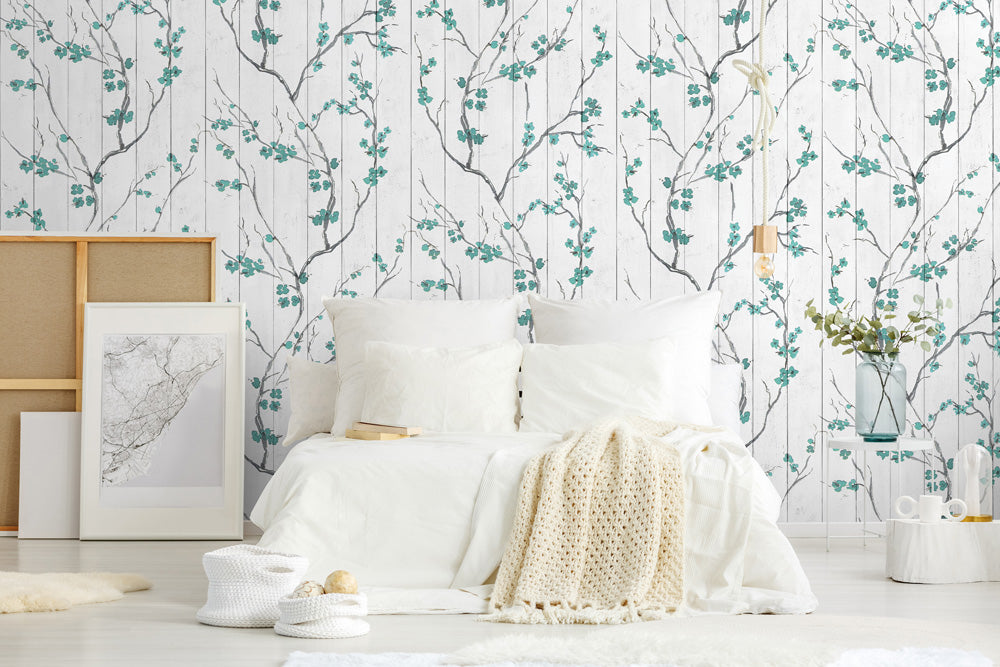 Teal cherry blossom bedroom wallpaper