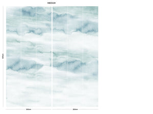 Teal sky cloud bedroom wall mural