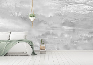 Monochrome woodland bedroom wall mural