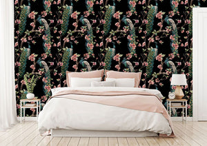 Green Jungle Bird  bedroom wallpaper