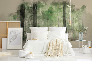 Green Forest bedroom wall mural